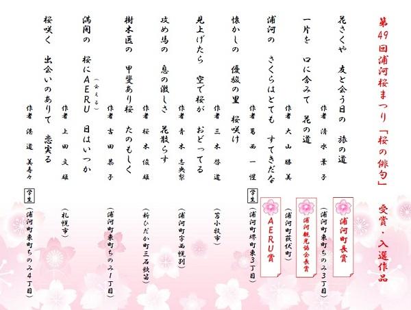 浦河桜まつり「桜の俳句」受賞・入賞作品について