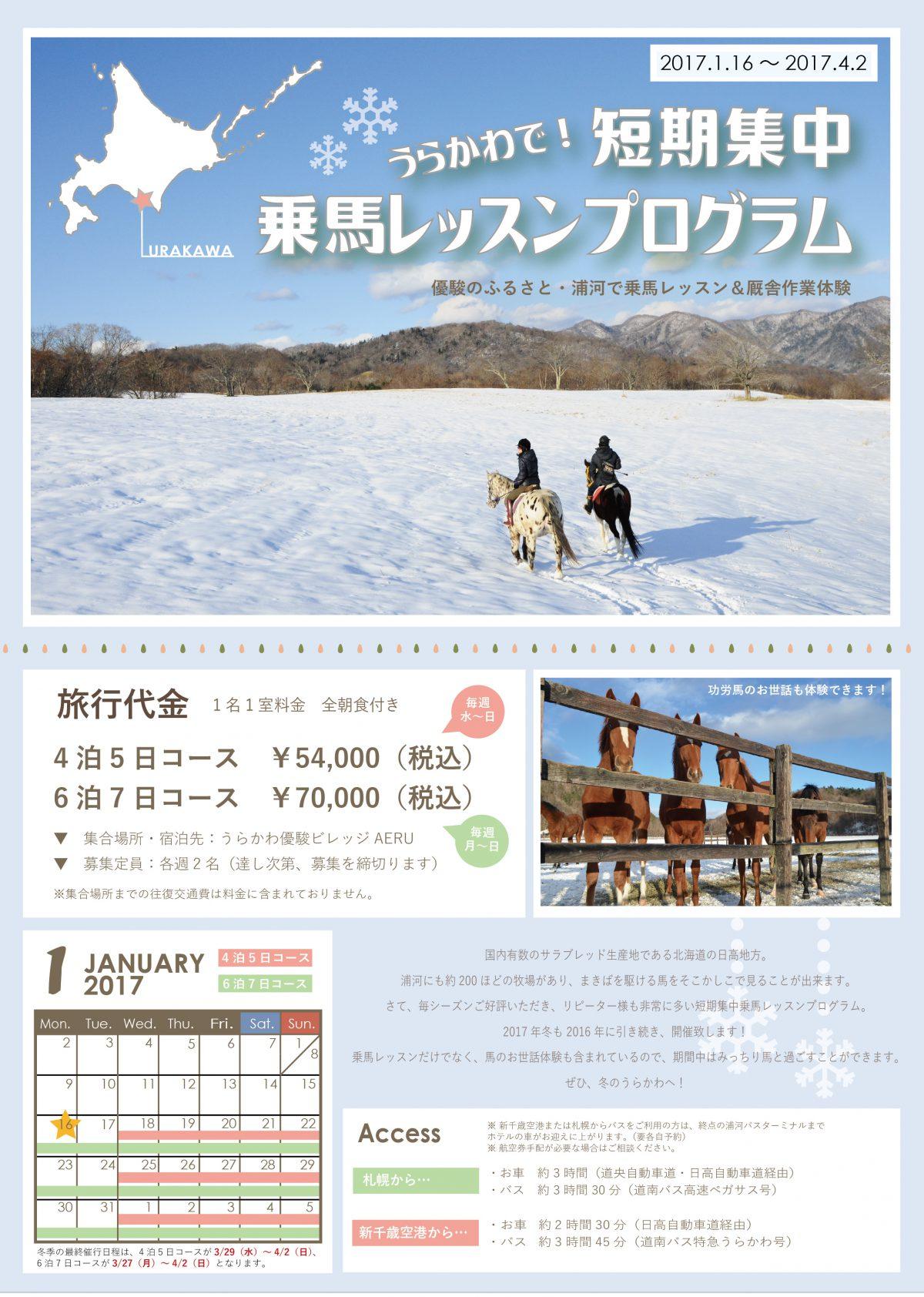 2017年冬・うらかわで短期集中乗馬レッスンプログラム 参加者募集中!