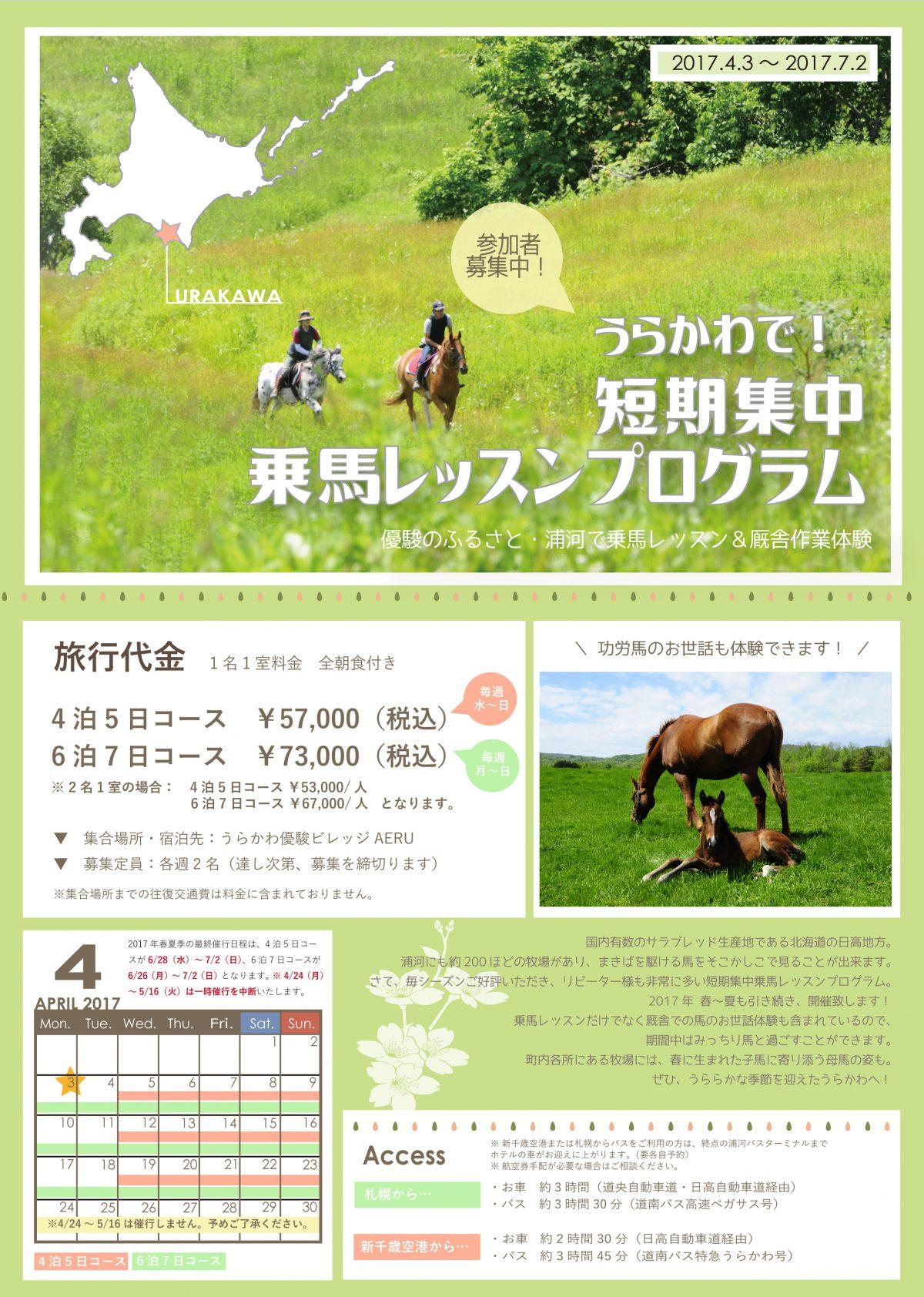 2017年春夏・うらかわで短期集中乗馬レッスンプログラム 参加者募集中!