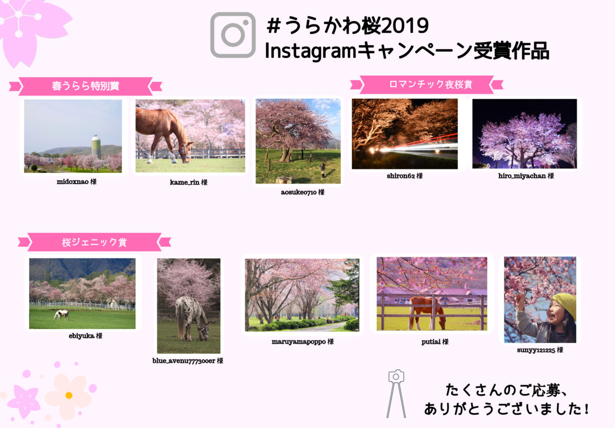 #うらかわ桜2019 Instagramキャンペーンの受賞作品発表